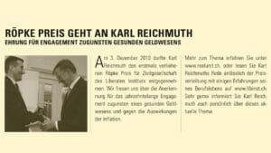 Röpke Preis geht an Karl Reichmuth